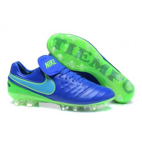 Nouveau Nike Crampons de Football Tiempo Legend VI FG Bleu Vert