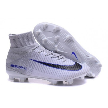 Chaussures Football Mercurial Superfly V FG 2016 Crampons pour Homme Gris Blanc Noir