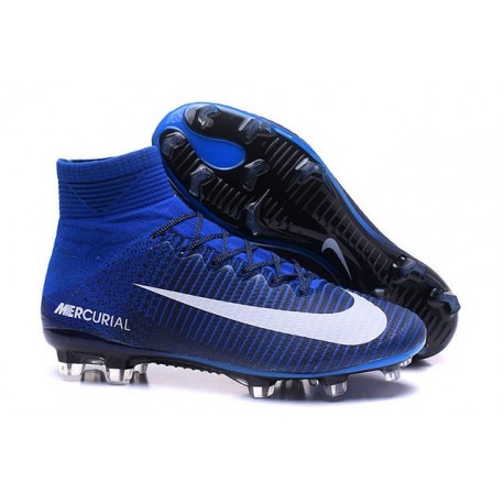 Chaussures Football Mercurial Superfly V FG 2016 Crampons pour Homme Bleu Blanc
