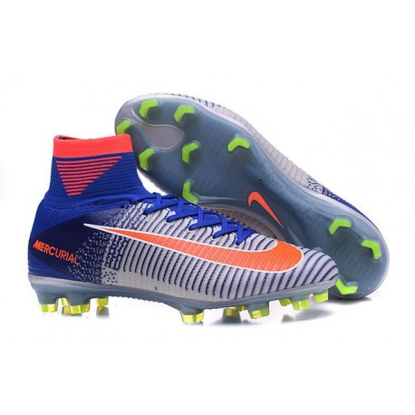 Chaussures Football Mercurial Superfly V FG 2016 Crampons pour Homme 2016 Rio Bleu Blanc Orange
