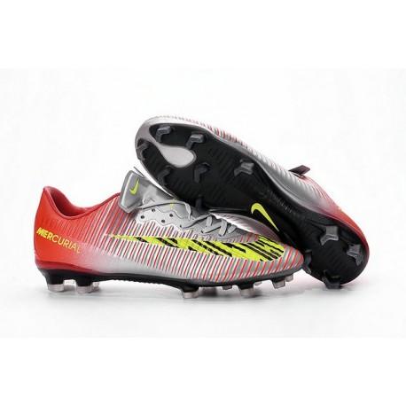 Chaussures pour hommes - Nike Mercurial Vapor 11 FG Crampons de Football Argent Rouge Jaune