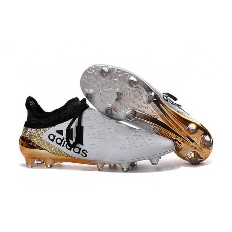 2016 Adidas X 16+ Purechaos FG/AG pour Homme Blanc Or Noir