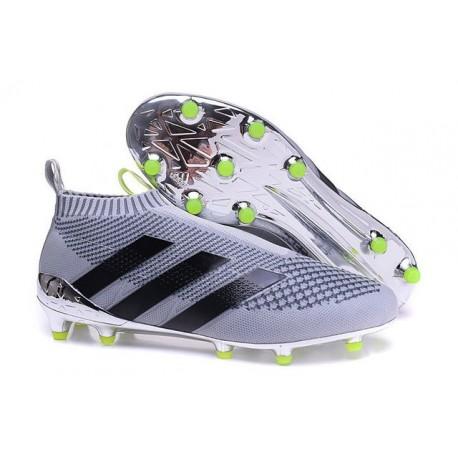2016 Adidas Ace16+ Purecontrol FG/AG Chaussures de Football Argenté Noir