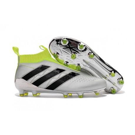 2016 Adidas Ace16+ Purecontrol FG/AG Chaussures de Football Argent Noir Jaune