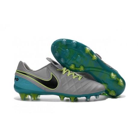 Nike 2016 Chaussures de Football Tiempo Legend 6 FG Gris Loup Noir Jade