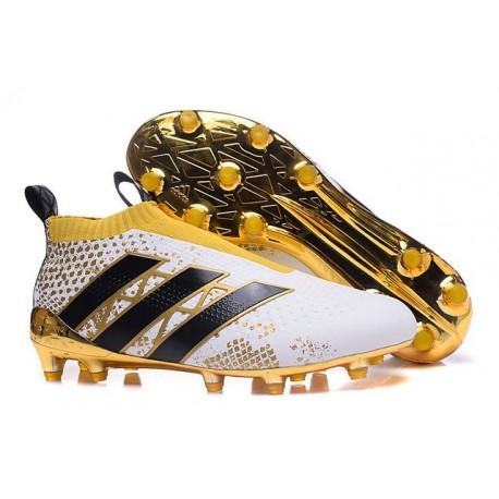2016 Adidas Ace16+ Purecontrol FG/AG Chaussures de Football Stellar Pack Noir Blanc Or