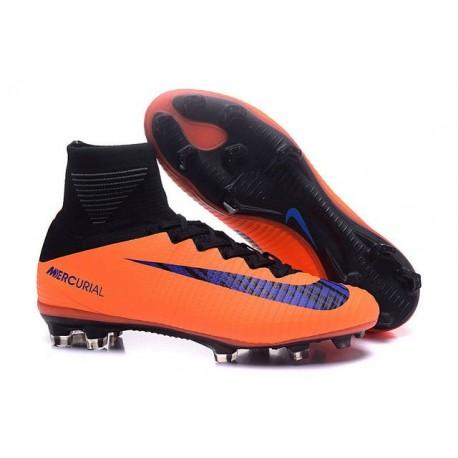 Chaussures Football Mercurial Superfly V FG 2016 Crampons pour Homme Orange Noir Violet