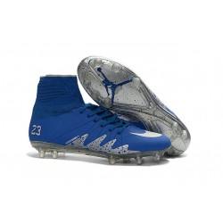 Nouvelles chaussures Nike HyperVenom Phantom II FG Football Crampons Neymar x Jordan Bleu Argenté