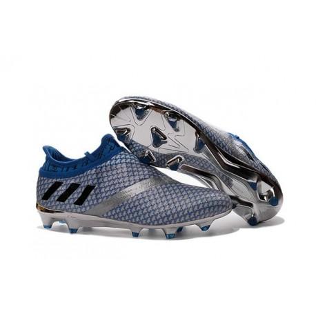 Adidas Messi 16+ Pureagility FG/AG Pas Cher Crampons foot Argent Noir Bleu