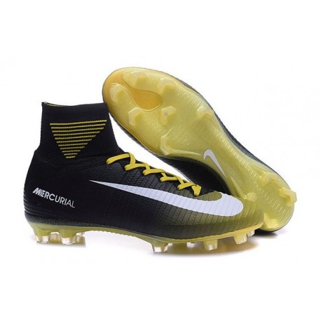 Chaussures Football Mercurial Superfly V FG 2016 Crampons pour Homme Jaune Blanc Noir