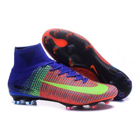Chaussures Football Mercurial Superfly V FG 2016 Crampons pour Homme Rouge Bleu Volt