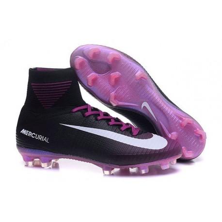 2016 Nouveau Chaussures de Football Mercurial Superfly V FG Noir Violet Blanc