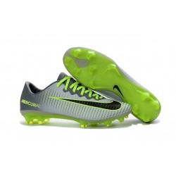 2016 Nike Mercurial Vapor 11 FG Crampons de Football pour Hommes Platine Noir Vert