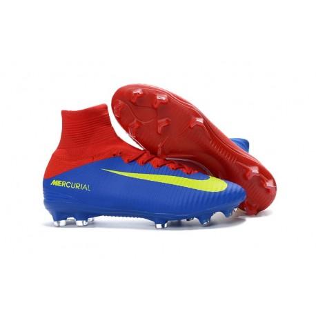 2016 Nouveau Chaussures de Football Mercurial Superfly V FG Bleu Rouge Jaune