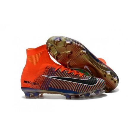 2016 Nouveau Chaussures de Football Mercurial Superfly V FG Nike Mercurial x EA Sports Orange Vert Bleu Noir
