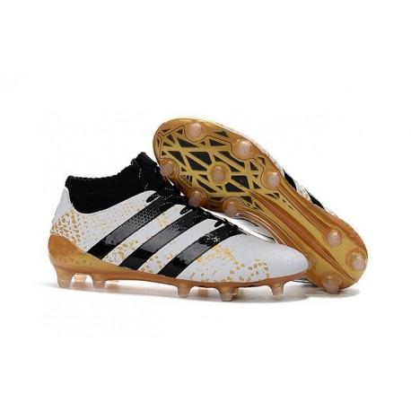 Chaussures de Football Hommes - adidas ACE 16.1 Primeknit FG/AG Noir Blanc Or