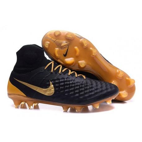 2016 Crampons foot Nike Magista Obra II FG Noir Or