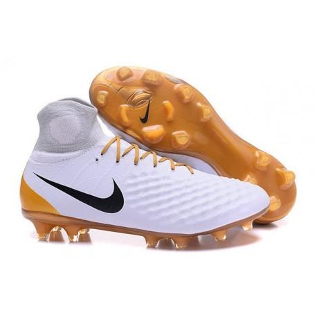 2016 Crampons foot Nike Magista Obra II FG Blanc Or