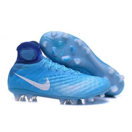2016 Crampons foot Nike Magista Obra II FG Bleu Blanc
