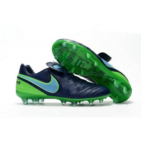 Nike 2016 Chaussures de Football Tiempo Legend 6 FG Bleu Mer Bleu Vert