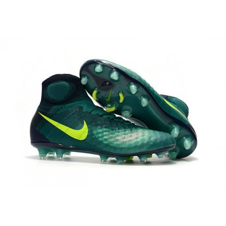 2016 Crampons foot Nike Magista Obra II FG Turquoise Rio Volt Obsidienne Jade