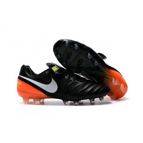 Nouveau Nike Crampons de Football Tiempo Legend VI FG Noir Blanc Hyper Orange Volt