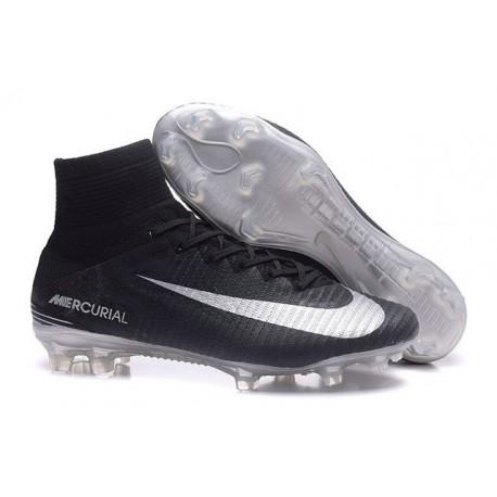 2016 Nouveau Chaussures de Football Mercurial Superfly V FG Noir Argent