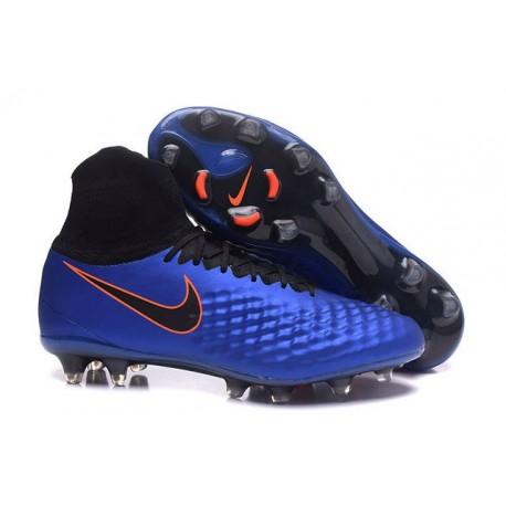 Hommes Nike Magista Obra II FG Chaussures de football Bleu Noir Orange