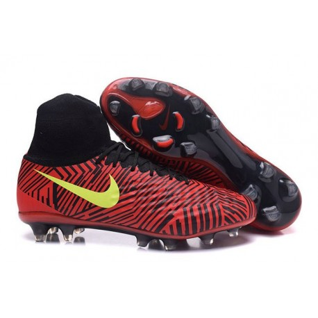 Nouvelles chaussures Nike Magista Obra II FG Football Crampons Noir Rouge Jaune