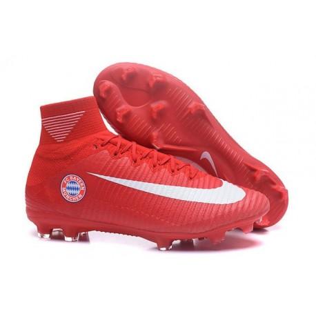 2016 Nouveau Chaussures de Football Mercurial Superfly V FG FC Bayern München Rouge Blanc