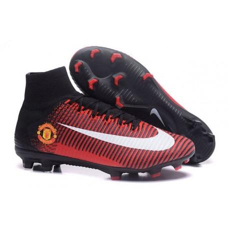 2016 Nouveau Chaussures de Football Mercurial Superfly V FG Manchester United Football Club Rouge Noir Blanc