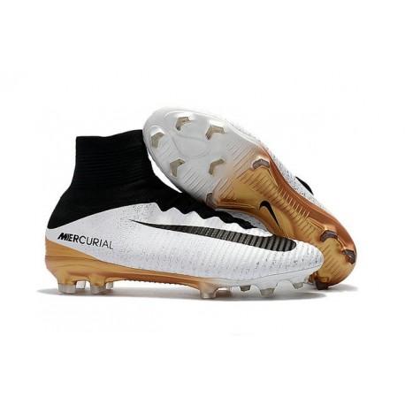 Nouveau Chaussures de Football Mercurial Superfly V FG pour Hommes Blanc Or Noir