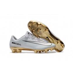 Nouvelles Nike Mercurial Vapor 11 FG Crampons de Football pour Hommes CR7 Vitórias Blanc Or Noir