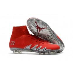 Nouvelles chaussures Nike HyperVenom Phantom II FG Football Crampons Rouge Argent