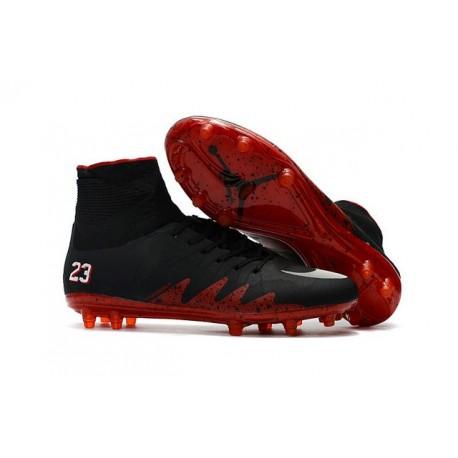 Hommes Nike HyperVenom Phantom II FG Chaussures de football Pas Cher - Jordan Noir Rouge Blanc