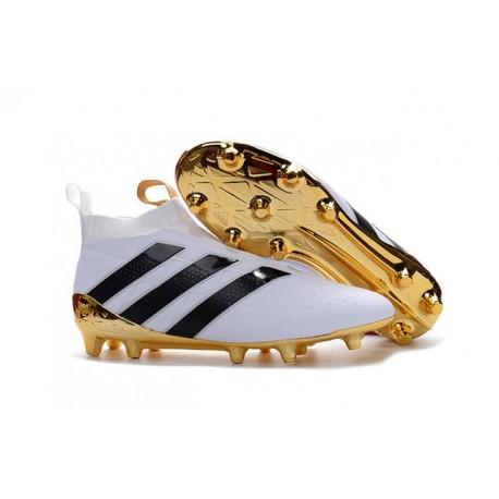 Nouveau Adidas Ace16+ Purecontrol FG/AG Chaussures de Football Blanc Or Noir