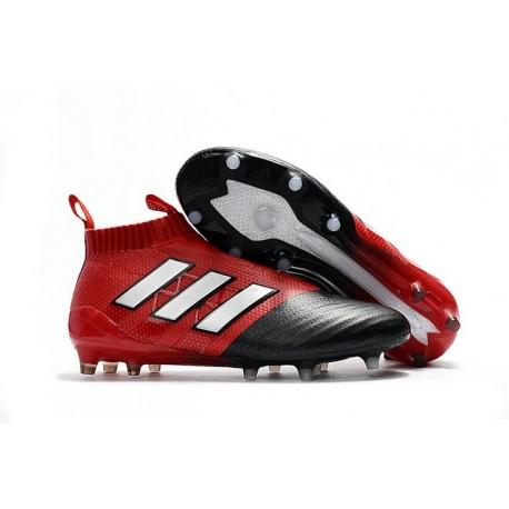 Nouveau Adidas Ace17+ Purecontrol FG/AG Chaussures de Football Blanc Rouge Noir