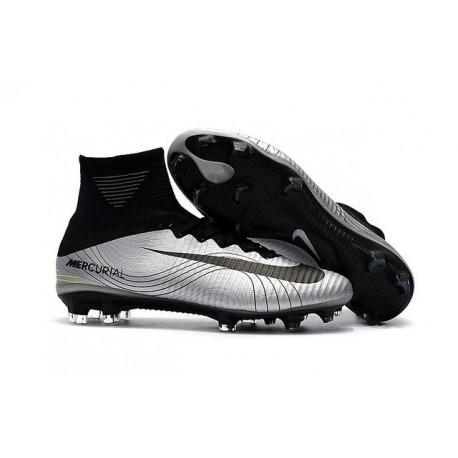 Nouveau Chaussures de Football Mercurial Superfly V FG pour Hommes Argent Noir