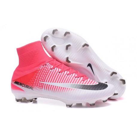 Chaussure de Cristiano Ronaldo Nike Mercurial Superfly 5 Tech Craft FG Rose Blanc Noir