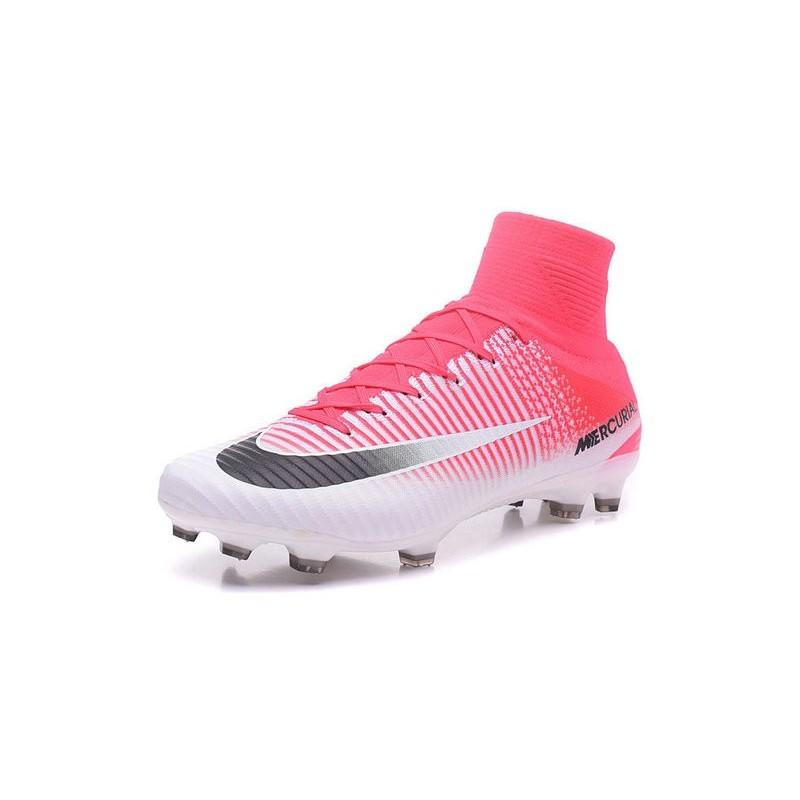 Chaussure de Cristiano Ronaldo Nike Mercurial Superfly 5 Tech Craft FG Rose  Blanc Noir e28eb17c4f2ba
