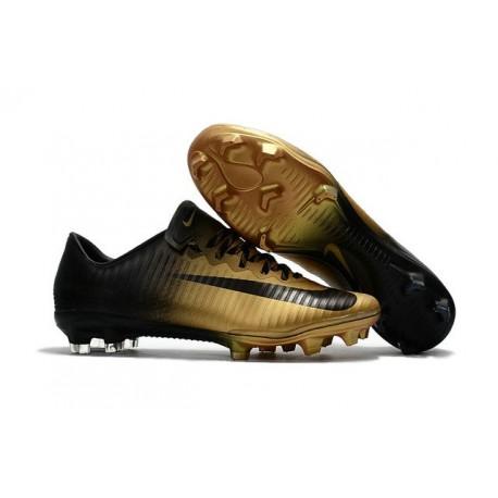 Nouvelles Nike Mercurial Vapor 11 FG Crampons de Football pour Hommes Or Noir