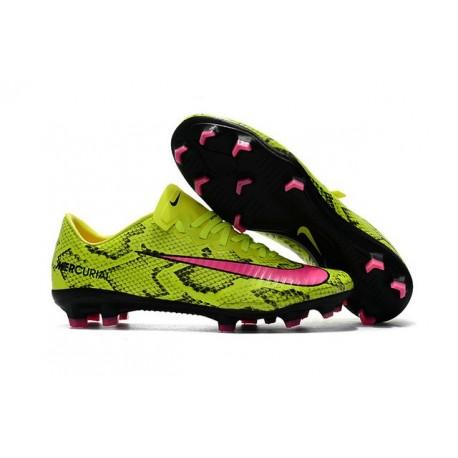 Nike Mercurial Vapor XI Tech Craft FG Chaussures De Foot 2017 Peau de serpent Rose Jaune