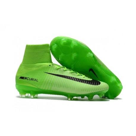 Nouveau Chaussures de Foot Nike Mercurial Superfly V FG Vert Électrique Noir Vert Fantôme