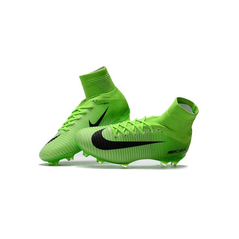 sports shoes f6e5f d65e8 Nouveau Chaussures de Foot Nike Mercurial Superfly V FG Vert Électrique  Noir Vert Fantôme