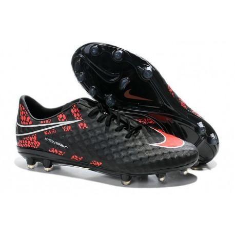 Coupe du monde 2014 Crampons Nike Hypervenom Phantom FG Noir Rouge Pack de Réflexion