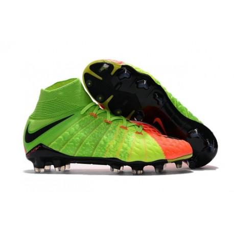 Crampon de Foot 2017 Nike HyperVenom Phantom 3 FG Pas Cher Vert Noir Orange