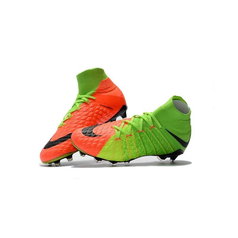 detailed look fd356 5d393 Crampon de Foot 2017 Nike HyperVenom Phantom 3 FG Pas Cher Vert Noir Orange