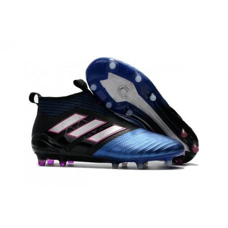 2017 Crampons Football Adidas Ace17+ Purecontrol FG Noir Blanc Bleu