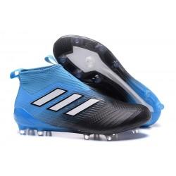 Chaussure Adidas Ace 17  Purecontrol FG Crampons Foot Pas Cher Noir Bleu