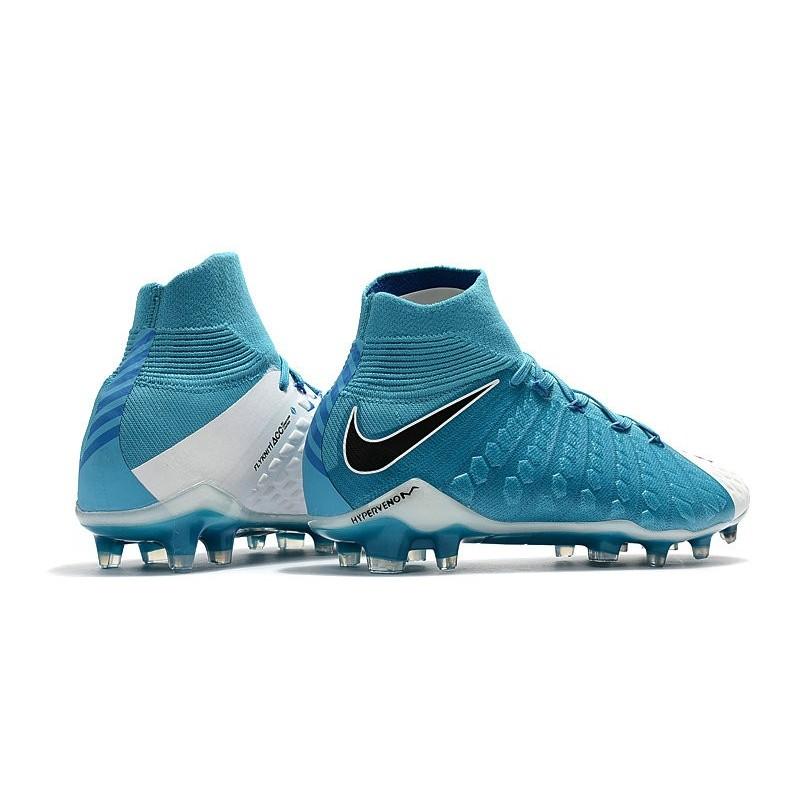 Nike HyperVenom Phantom III FG Chaussures Football Soldes Blanc Noir Bleu Photo
